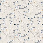 Tissu 50 x 140 cm Fleurs sauvages gris et or