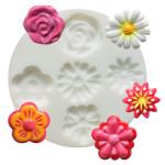 Moule en silicone thème fleurs - 5 formes - diam. 7 cm
