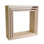 Etagères en bois carrées à décorer - 3 pièces