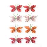 Stickers 3D papillon rouge par 8