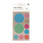 Stickers en papier Washi ronds multicolores x 4 planches