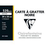 Pochette de 2 cartes à gratter - Noir - 520 g/m² - 24 x 32 cm