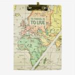 Porte documents avec pince Mappe monde