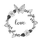 Tampon bois Love - 6 x 6 cm